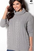 Womens_Chunky Roll Neck_Oversized Jumper_By TG_Grey_Size uk 14_top XMAS GIFT new