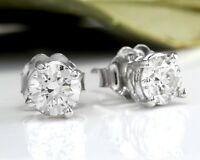 .50Ct Natural VS2-SI1 Diamond 14k Solid White Gold Stud Earrings