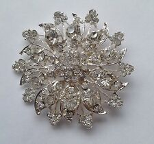 large silver tone crystal diamante flowery  brooch 5cm