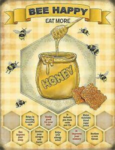 Bee Happy Honey Pot Home Kitchen Garden Cafe Diner Fridge Magnet