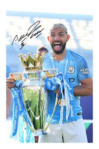 Sergio Aguero Signed A4 Photo Print Autograph Manchester City 20/21 Champions