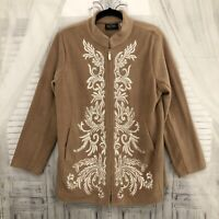 Bob Mackie Size Medium Camel Brown Zip Jacket Embroidered Floral Coat Pockets D4