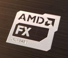 AMD FX Unlocked Chrome Metal Sticker Case Badge Stickers 20mm x 17mm