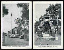 Vintage 1940's Italian Swiss Colony Entrance cars & Rock wine vat Postcard set