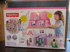 Fisher price loving family doll house w/ mom dad baby couch & infant seat NIB