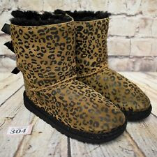 Junior UGG Australia Leopard Print Bailey Bow Sheepskin Boots UK 12 EUR 30