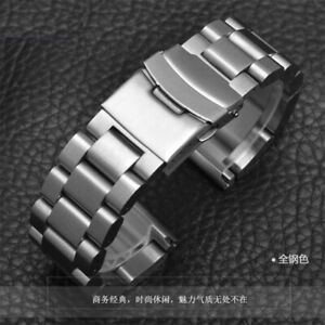Solid 22/24/26mm Stainless Steel Buckle Watch Wristwatch Band Strap Thick&Heavy