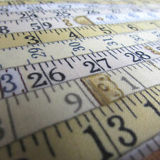 Makower Haberdashery tape measure print 100% cotton fabric sold per FQT