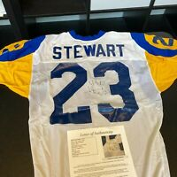 Michael Stewart Signed 1987 Rookie Game Used Los Angeles Rams Jersey JSA COA