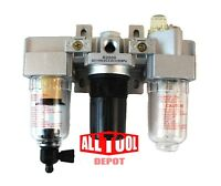 "1/4"" COMBO AIR LINE PARTICULATE FILTER MOISTURE TRAP LUBRICATOR REGULATOR"