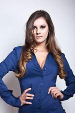 Blusenbody, Bodybluse, Bluse in dunkelblau, Shirt, Hemd, Gr. 38