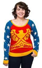 DC Comics Wonder Woman Ladies Knit Sweater Size Small Junk Food Brand 70's Style