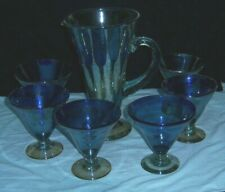Vintage Cobalt Blue Art Glass Handmade Pitcher and Margarita Glasses-Set of 6