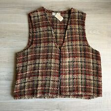 Boyne Valley Weavers Sz L Brown Chenille Plaid Vest Handcrafted in Ireland Wool