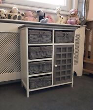 Grey White Storage Unit Cabinet Retro Shabby Chic Kids Furniture Bathroom Wicker