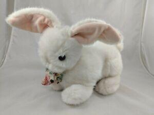 "Dakin Rabbit Plush Bunny 11"" 1990 Flower Bow Stuffed Animal toy"