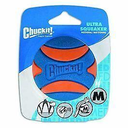 Chuckit! Ultra Squeaker Ball for Dogs in Orange / Blue - Medium