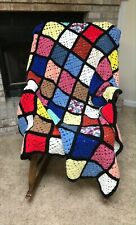 Crochet Granny Square Afghan Throw Stained Glass Roseanne Black MultiColor 60X54