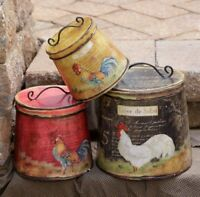 FARMHOUSE ROOSTER CANISTER SET TIN BUCKETS BINS Set of 3 PRIMITIVE NOT FOOD SAFE