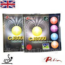 2 x Palio CJ8000 Biotech Table Tennis Rubbers & sponge. Long Last Loop & Attack