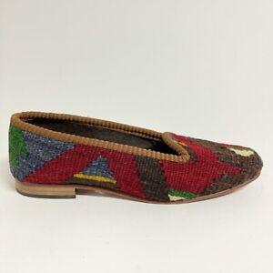 Artemis Design Co. Womens Kilim Loafer Shoes Red Geometric Slip Ons 9-9.5 EUR 39
