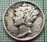 UNITED STATES 1920 P MERCURY DIME - 10 CENTS, PHILADELPHIA, SILVER BETTER GRADE