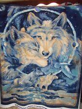 Wolves Fleece Fabric Panel -- New