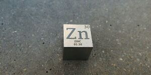 11 inch 25.4 mm Zinc Zn metal element cube periodic table 99.9% pure