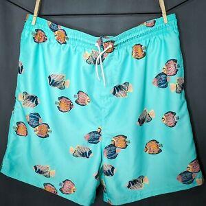 Old Navy Mens Swim Trunks Shorts XXL Tall 2XLT Teal Blue Fish Print Mesh Lined