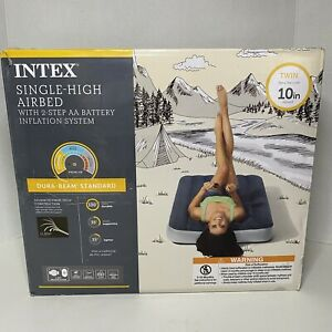 Twin Air Mattress With Pump, Grey Deluxe Dura-Beam Air Mattress By Intex