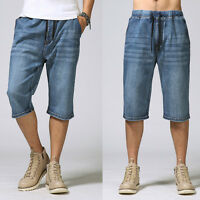 Mens Jeans Shorts Elastic Waist Trouser Straight Summer Thin Plus Size W30-W46