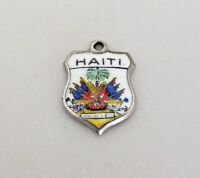 HAITI Vintage Sterling Silver Enamel Travel Shield Charm