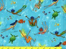 Ocean Swimmers Bathing Beauties & Fish Quilting & Sewing Fabric by Yard #1061