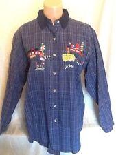 """CASEY & MAX, Size Medium, Cotton Plaid, Long Sleeve Blouse w/ """"School"""" Appliqués"""