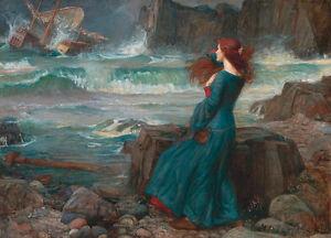 Miranda-The Tempest by John William Waterhouse A2 High Quality Canvas Print