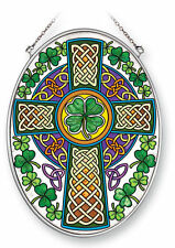 "Celtic Knot Cross Sun Catcher AMIA Hand Painted Glass 7""x5"" Green Clovers New"