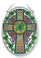 "Celtic Knot Cross Sun Catcher AMIA Hand Painted Glass 7""x5"" Green Clovers New"