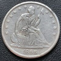 1866 S Seated Liberty Half Dollar 50c High Grade XF - AU Details #29284