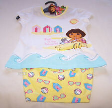 Dora The Explorer Girls White Yellow Beach Printed Pyjama Set Size 4 New