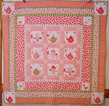 Strawberry Tea Party Handmade Quilt Embellished REDUCED