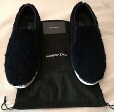 DOLCE & GABBANA CS1348 Lamb fur Slip-on Sneakers Navy uk 6 eu 40
