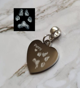 Personalised Heart Slider Charm With Pet's / Child / Adult Print's Engraved