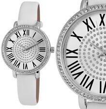 Damen Armbanduhr Weiss/Silber Crystal-Besatz Kunstlederarmband von Excellanc 236