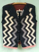 FABULOUS REVERSIBLE VINTAGE NAVAJO GERMANTOWN EYE DAZZLER WOOL VEST
