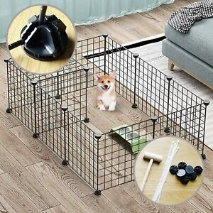 12 Panels Pet Playpen Small Animals Dog Big Rabbit Guinea Pig Yard Fence Cage