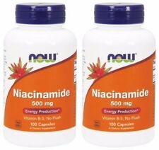 2-Pack Of Niacinamide 500 mg 100 Caps, Now Foods, Supplement