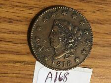 1818 coronet head large cent / very fine