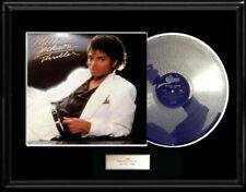 MICHAEL JACKSON THRILLER  ALBUM FRAMED LP WHITE GOLD SILVER PLATINUM TONE RECORD