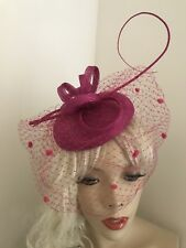 Fascinator Fuchsia Pink Pillbox Wedding Hat Formal Headpiece Hatinator Veil Dots