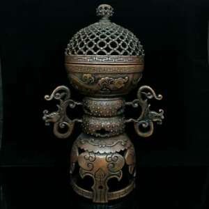 """10.6"""" Collect China Bronze Dragon Ear Round The World Form Incense Burner Censer"""